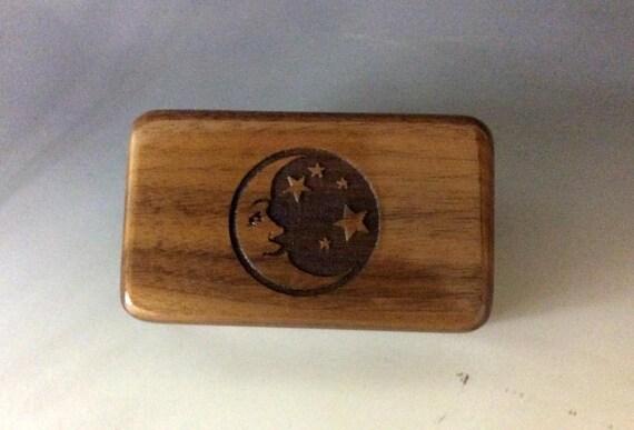 Wooden Box- Moon & Stars Walnut Engraved Box- Wooden Box - Handmade Box, Jewelry Box, Keepsake Box, Small Box - Small Wooden Box, Gift Box
