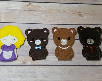 Goldilocks and The Three Bears finger puppets pretend play