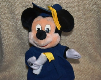 "MICKEY MOUSE theGRADUATE. Dressed in Blue Velvet Cap & Gown  Tassel/ Diploma Vintage Collectible. 11"" Hat / Foot Disneyland WD World"