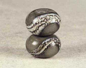 Dark Gray Glass Lampwork Bead Pair, Glass Lampwork, Lampwork Beads, Handmade Beads, Silvered Ivory Pair, 2 Glossy 11x7mm Dark Gray