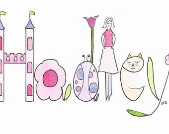 Original Watercolor Name Painting, Name Art, Nursery Wall Decor, Personalized Baby Gift, Princess, Mermaid, Dance, Fairy, Ladybug, Pink