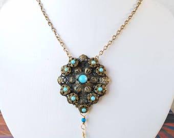 Intricate Vintage turquoise pendant necklace