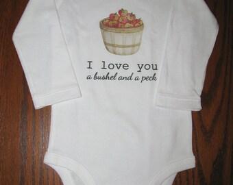 Baby bodysuit, Cute baby clothes, Unique baby bodysuit, Apple baby, Cute bodysuit, Farm baby, I Love You a Bushel and a Peck