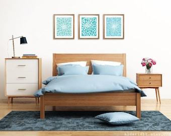 Modern Flowers Art Prints - Abstract Flower Wall Art -  Set of 3 Prints - Floral - Home Decor - Blue Turquoise Aqua
