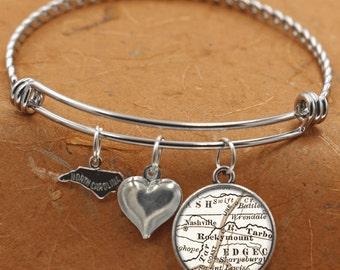 Rocky Mount North Carolina Map NC State Charm Bangle Bracelet Personalized Custom Vintage Map Jewelry Stainless Steel Charm Bracelet