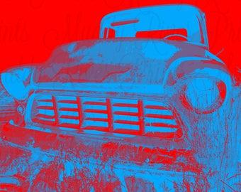 Chevy Printable Download-Truck Pop Art-Digital Photography File-Rustic Americana Decor-Wall Art-Apache-Chevrolet Pickup Truck