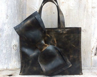 Leather Bow Bag Large Size in Distressed Charcoal Pullup Leather with Light Brown Undertones Handmade Artisan Tote Bag by Stacy Leigh