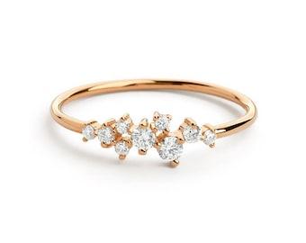 Rose Gold Diamond Ring, Diamond Cluster Ring in Rose Gold, Dainty Diamond Ring, Mother Day Gift for Her