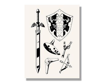 Link's Equipment from The Legend of Zelda - Gaming Screen Print - Hand Made Wall Art in Multiple Colors
