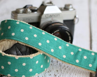 dSLR Camera Strap., Camera Strap, Camera Strap Compatible with Canon and Nikon, Personalized Camera Strap - Teal Polka Dot