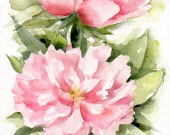 Peony painting, Original painting, peony watercolor, light pink peonies, peony flower, garden peonies, flower art, paeony floral, floral art