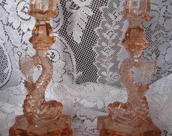 Pair of Vintage Westmoreland Pink Dolphin Candlesticks