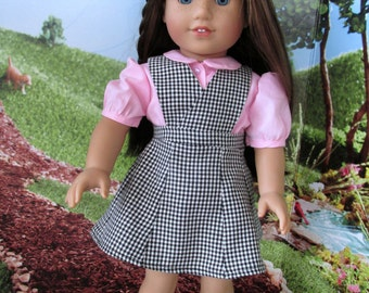18 Inch Doll School Dress, Black/White Houndstooth School Girl Dress and Pink Blouse, fits 18 inch dolls such as American Girl dolls