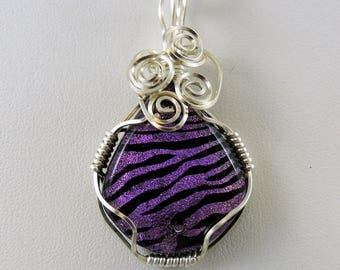Wire Wrapped Necklace, Dichroic Glass Necklace, Dichroic Glass Jewelry, Purple Black Necklace, Goth Necklace, Gothic Jewelry, Animal Print