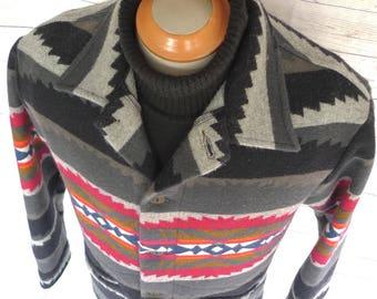 Vintage PENDLETON High Grade Western Wear WOOL Blanket COAT Navajo Jacket  Sz M