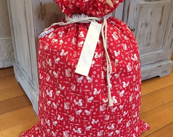 Christmas Santa Sack, Cream Squirrel and Calico Genuine Quality, Hand Made, Large 75cm x 55cm, Fully Lined, Personalised