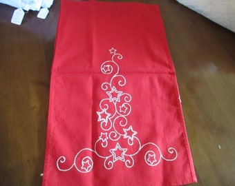 Christmas, table runner, dresser scarf, red, white embroidery, holidays, home and living, kitchen and dining, bedroom, seasonal, home decor