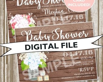 Rustic Themed Hydrangeas/Mason Jar Baby Shower Invitation--PERSONALIZED DIGITAL FILE