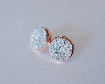 Rose Gold Druzy Stud Earrings  - Nickel Free - 12 mm - rose gold stud earrings - Wedding Jewelry - Bridesmaid Jewelry