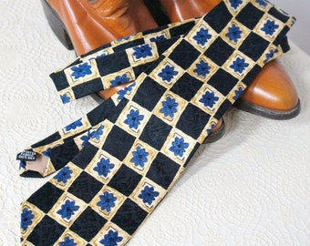 Vintage Designer Tie Men's Necktie Oleg Cassini For Him Silk Black Blue Gold Dude Neck Tie Cravat Men's Accessories