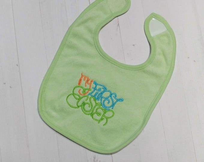 My First Easter pastel green embroidered Koala Baby cloth baby bibs for 6-12 month old boys and girls