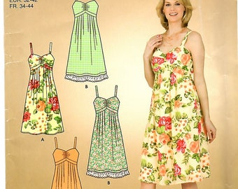 Misses Sun Dress with Empire Waist, Gathered Bodice and Graceful, Pleated Skirt, Sizes 6,8,10,12,14,16, Simplicity 3722