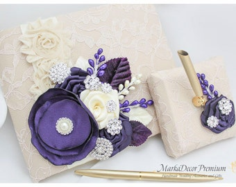 Wedding Lace Guest Book Pen Holder Set Birthday Book Custom Bridal Flower Brooch Guest Books in Champagne, Ivory and Lapis Purple