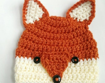 READY TO SHIP-Fox hat woodlands animal crochet knit hat beanie - crochet fox beanie - knit fox beanie - fox beanie - autumn fox knit hat