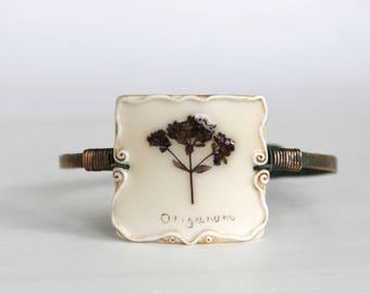 Real Flower Bracelet, Oregano Bracelet, Copper Bracelet, Vintage Bracelet, Hand Forged Bracelet, Rough Bracelet