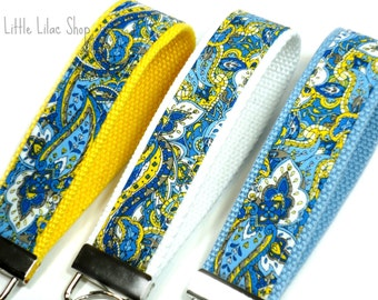 Blue and Yellow Paisley, Fabric Key Fob, Fabric Keychain, Teacher Gift, Key Holder, Key Chain, Keychain, Blue Key Fob, Blue and White