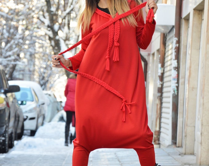 Plus Size Overall, Extravagant Jumpsuit, Elegant Womens Romper, Drop Crotch Red Jumpsuit, Loose Jumpsuit With Belt by SSDfashion