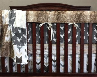 Baby Boy Crib Bedding - Dark Gray Buck, Barn Wood, Fletching Arrow, Fawn Minky, and Ivory Crushed Crib Baby Bedding