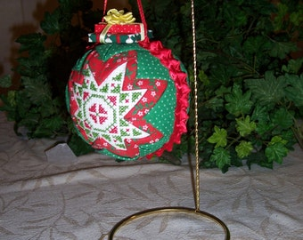 Handmade Quilted Christmas Cross Stitch Ornament