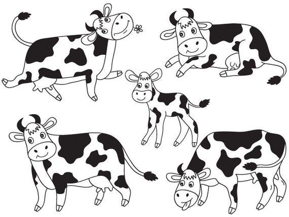 cows clipart digital vector farm animal calf barn yard rh etsy com cow clip art black and white cow clip art free jpg files