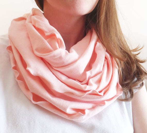 Pink Scarf Infinity scarf cotton jersey eternity circle scarf holiday candy pink cowl ruffle scarf mothers day gift for her - Ready to Ship