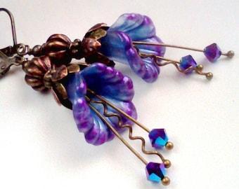 Hand Painted, Painted Flowers, Flower Earrings, Blue and Purple, Blue Flower Dangles,  Bridal Earrings, Vintage, Purple and Blue, Boho, #10