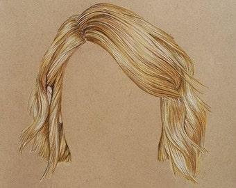 Blonde hair hyper-realistic sketch, hair drawing, hair portraiture, hair sketch, hair illustration