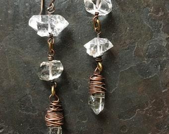 Herkimer Diamond Dangle Earrings Wire Wrap Crystal Earrings Copper Drop Earrings Rustic Jewelry Daniellerosebean Raw Crystal Earrings