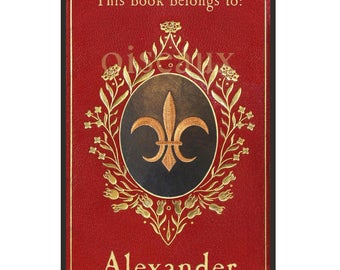 Personalized Bookplates - Vintage Fleur-de-Lis - Father's Day Book Plates, Francophile, Antique Ex Libris