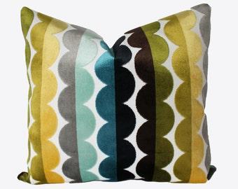 Decorative Designer Jonathan Adler Velvet Multicolor Accent Pillow, 18x18, 20x20, 22x22 or Lumbar Throw Pillow