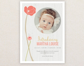 Girls Photo Birth Announcement. I Customize, You Print. Poppies and woodgrain.