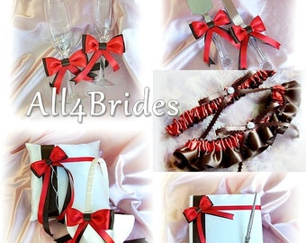 Persimmon Chocolate Brown Wedding Flower Girl Basket, Ring Pillow, Guest Book, Bridal Leg Garters, Cake Set, Flutes  11pc collection