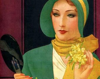 Darling DAFFODIL Flapper Vintage Flower Illustration. Digital FLAPPER Download. Vintage Digital Flapper Flower Printable Image.