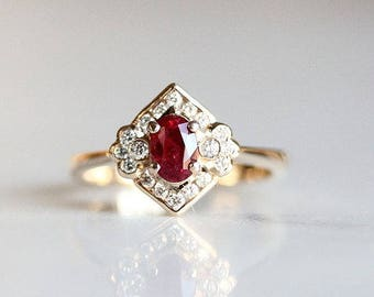 uk ring engagement antique heart and product diamond ruby rings bow jewelsuk jewels