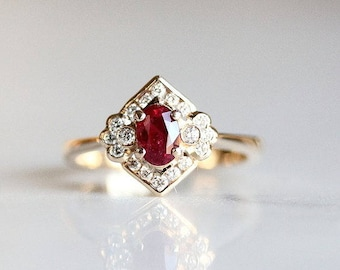 gold deco ruby art engagement vintage k corrals diamond side lake rings gallery and antique ring