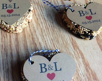 15 Bird Seed Heart Shaped Favors Wedding and Baby showers - Personalized bird seed favors