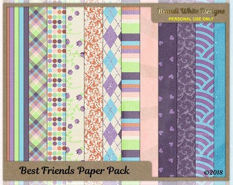 Digital Scrapbooking Paper - Best Friends - Set of 12 Digiscrap Backgrounds, 12x12
