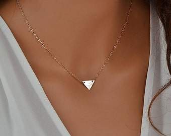 Personalized Triangle Necklace, Delicate Geometric Jewelry, Initial Triangle, Hammered Necklace Gold, Silver, Rose Gold
