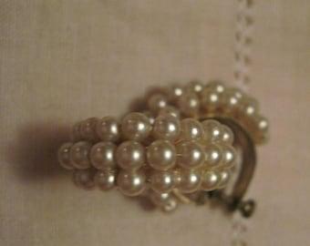 Pearl  hoop  Earrings twist back Vintage  pearl evening wear