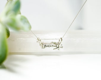 Breathe necklace, sterling silver breathe necklace with branches